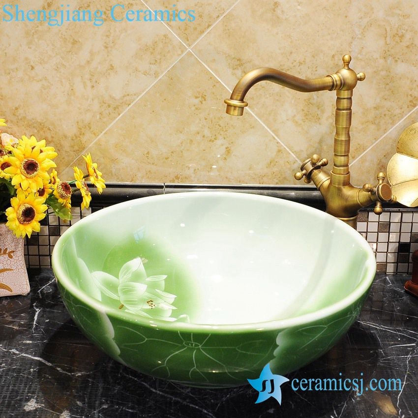Zy 0040 Green Water Lily Pattern Round