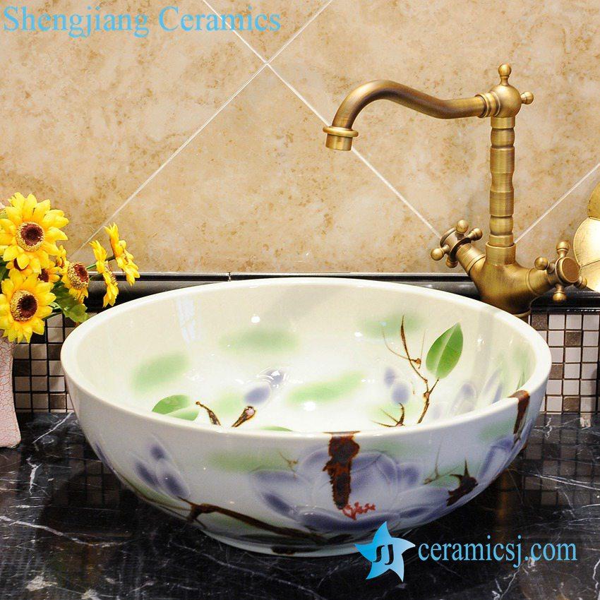 ZY-0041 ZY-0041 Colored floral pattern porcelain large basin - shengjiang  ceramic  factory   porcelain art hand basin wash sink