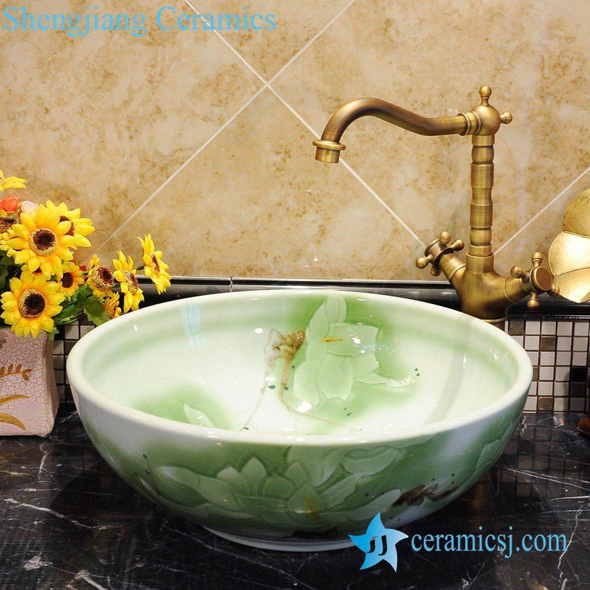 ZY-0044 ZY-0044 Popular design for bathroom round porcelain foot wash basin - shengjiang  ceramic  factory   porcelain art hand basin wash sink