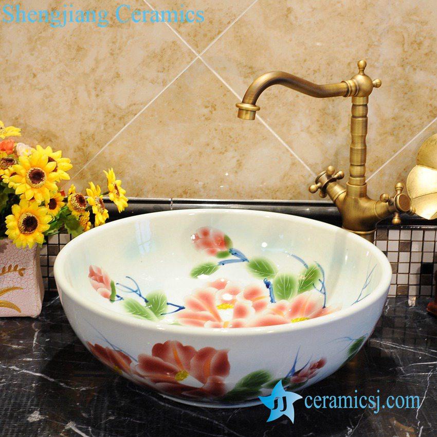 ZY-0045 ZY-0045 Hot sale colored peony flower shiny surface round table mount hair wash basin - shengjiang  ceramic  factory   porcelain art hand basin wash sink