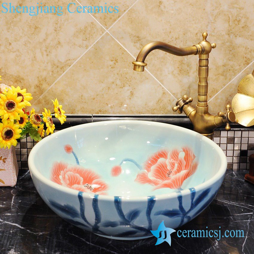 ZY-0047 ZY-0047 Floral leaf pattern light blue ceramic decorative sink bowls - shengjiang  ceramic  factory   porcelain art hand basin wash sink