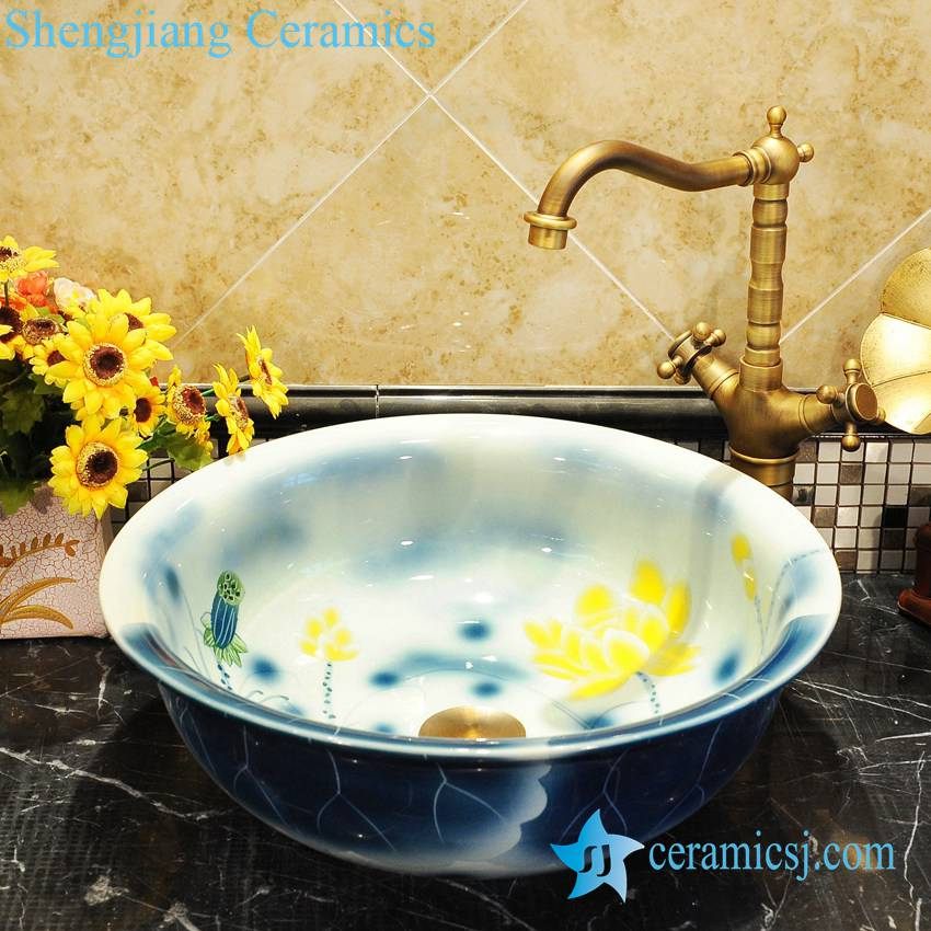 ZY-0048 ZY-0048 Blue round cabinet top fancy water lily pattern colored toilet ceramic bowl - shengjiang  ceramic  factory   porcelain art hand basin wash sink