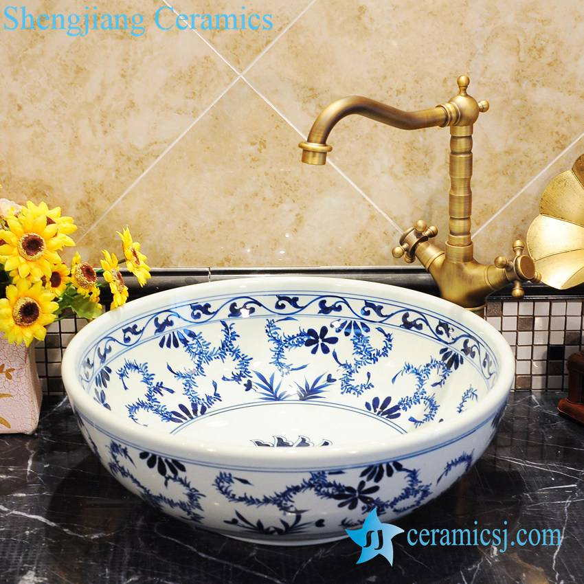 ZY-0049 ZY-0049 Blue and white hand painting ceramic composite bathroom sink - shengjiang  ceramic  factory   porcelain art hand basin wash sink