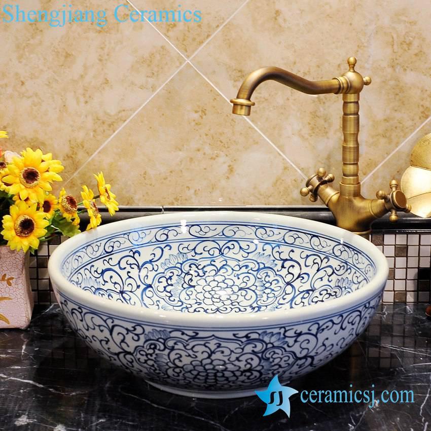 ZY-0050 ZY-0050 Gorgeous exotic blue and white ceramic round hotel bathroom sanitary ware - shengjiang  ceramic  factory   porcelain art hand basin wash sink