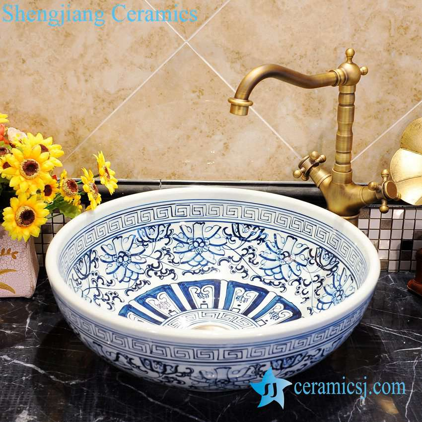 ZY-0051 ZY-0051 Unique hand painting blue and white porcelain bathroom corner sink - shengjiang  ceramic  factory   porcelain art hand basin wash sink