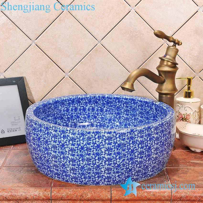 ZY-0056 ZY-0056 Drum waist shape ceramic counter top wash basin big size - shengjiang  ceramic  factory   porcelain art hand basin wash sink