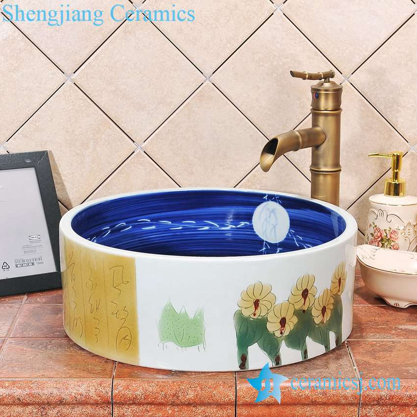 ZY-0058 ZY-0058 Round ceramic outdoor washbain for hotel - shengjiang  ceramic  factory   porcelain art hand basin wash sink