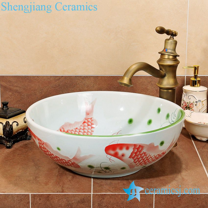 ZY-0059 ZY-0059 Round red fishes pattern ceramic hand wash basin price low - shengjiang  ceramic  factory   porcelain art hand basin wash sink