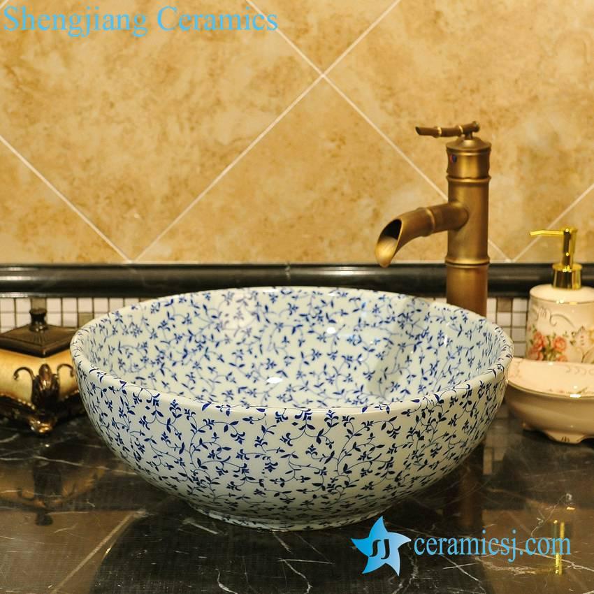 ZY-0068 ZY-0068 Blue and white round ceramic kitchen basin - shengjiang  ceramic  factory   porcelain art hand basin wash sink