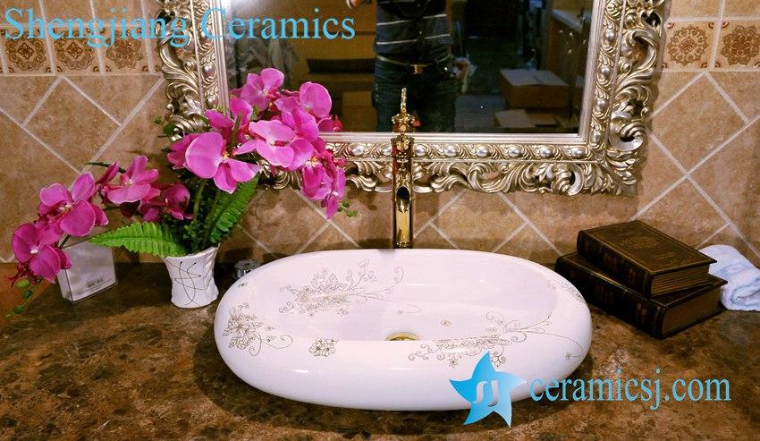 ZY-0071 ZY-0071 Oval egg shape gold gilded bouquet pattern ceramic wash basin in india - shengjiang  ceramic  factory   porcelain art hand basin wash sink