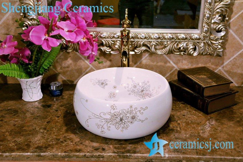 ZY-0073 ZY-0073 Bird nest shape round golden bouquet pattern vitreous china corner wash basin - shengjiang  ceramic  factory   porcelain art hand basin wash sink