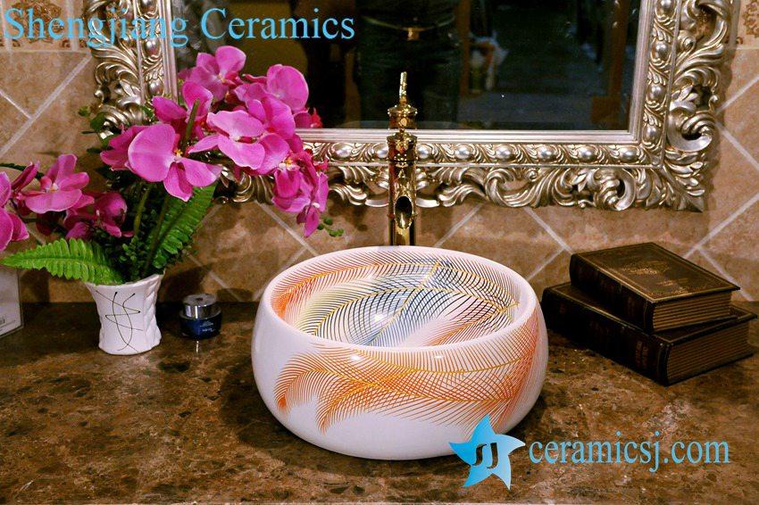 ZY-0075 ZY-0075 Plume pattern round ceramic wash basin types - shengjiang  ceramic  factory   porcelain art hand basin wash sink
