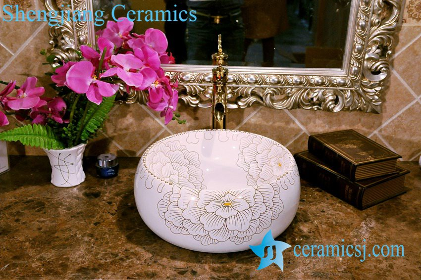 ZY-0076 ZY-0076 Golden plated vitreous china installing bathroom basin - shengjiang  ceramic  factory   porcelain art hand basin wash sink