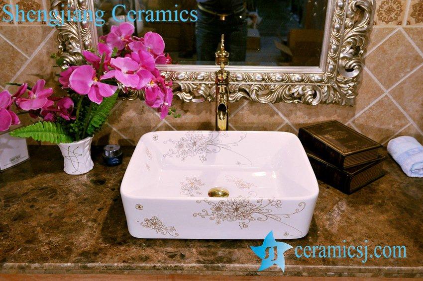 ZY-0078 ZY-0078 Rectangular bouquet pattern porcelain portable wash basin tub for bathroom - shengjiang  ceramic  factory   porcelain art hand basin wash sink