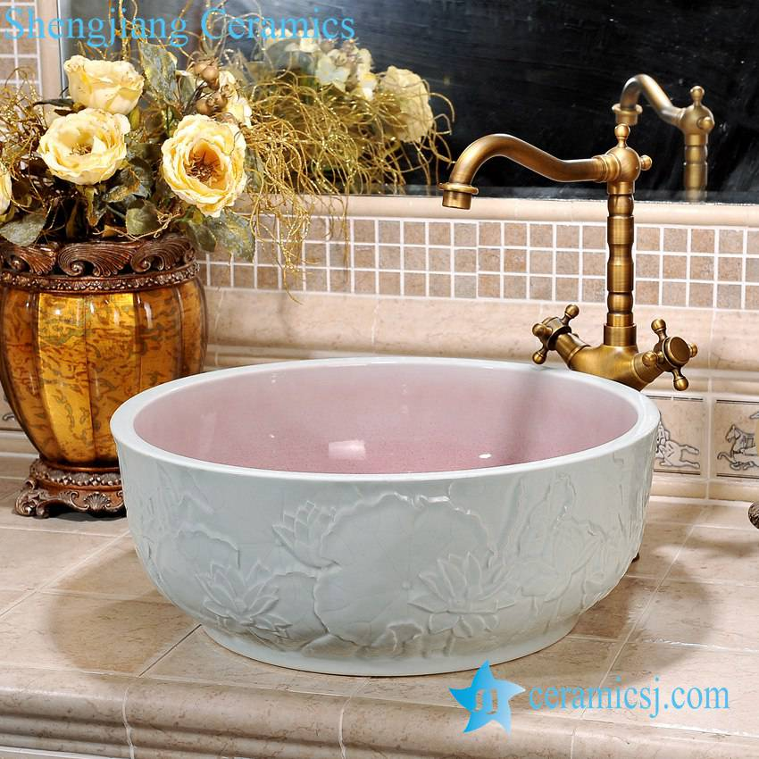 ZY-0088 ZY-0088 Hand carved lotus pattern ceramic bathroom porcelain sink - shengjiang  ceramic  factory   porcelain art hand basin wash sink