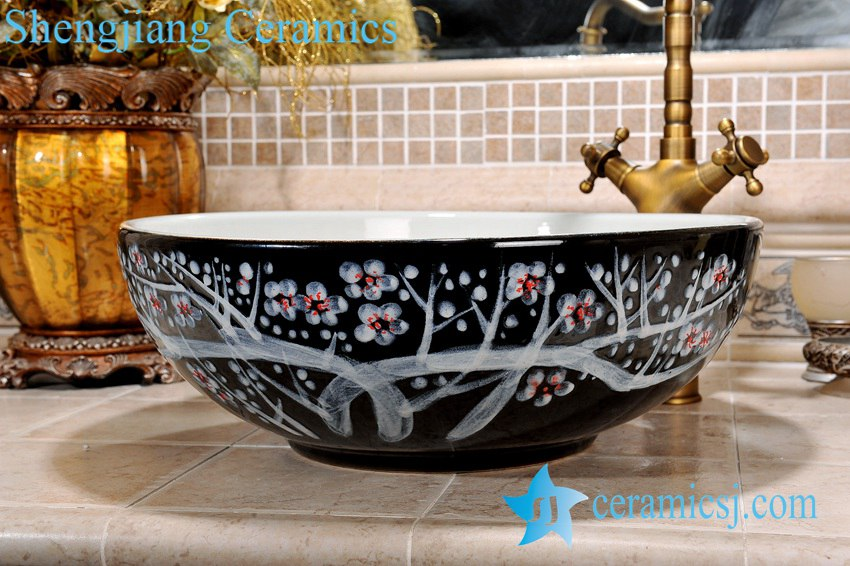 ZY-0089 ZY-0089 Plum flower hand painting pattern black ceramic sink bowl - shengjiang  ceramic  factory   porcelain art hand basin wash sink