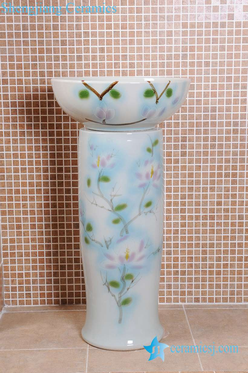 ZY-0099 ZY-0099 Middle east style luxury modern hotel restaurant club toilet ceramic pedestal sink basin - shengjiang  ceramic  factory   porcelain art hand basin wash sink
