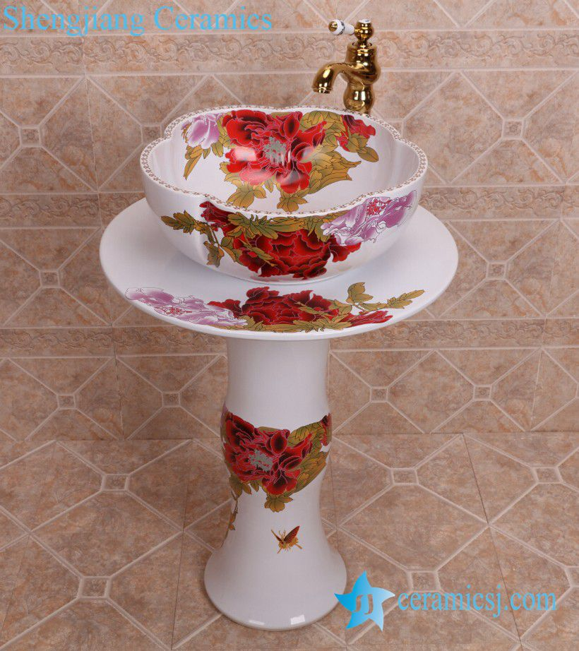 Zy 0108 China Bathroom Sink Supplier Factory Direct Price Red Flower Pattern Outdoor Toilet Hotel Restaurant Table Pedestal Basin