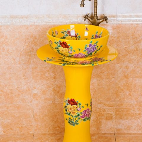 ZY-0110 Bright yellow colored and beautiful butterfly and flower branch pattern ceramic pedestal sink basin coloured bathroom basins