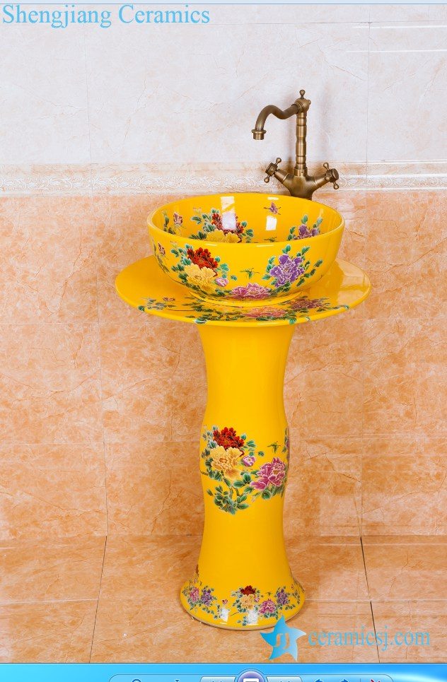 ZY 0110 Bright Yellow Colored And Beautiful Butterfly And Flower Branch  Pattern Ceramic Pedestal Sink Basin Coloured Bathroom Basins