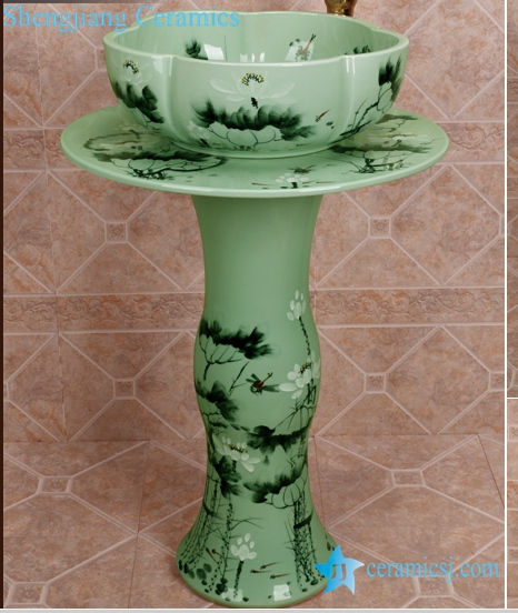 ZY-0111 ZY-0111 China bathroom sink supplier factory direct price lotus flower pattern outdoor toilet hotel restaurant bathroom ceramic sink table, sink pedestal,sink basin - shengjiang  ceramic  factory   porcelain art hand basin wash sink