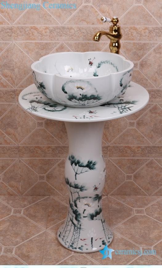ZY-0112 ZY-0112 China hot sale cheap price gorgeous ceramic vitreous enamel pedestal sink lavatory sink bowl - shengjiang  ceramic  factory   porcelain art hand basin wash sink