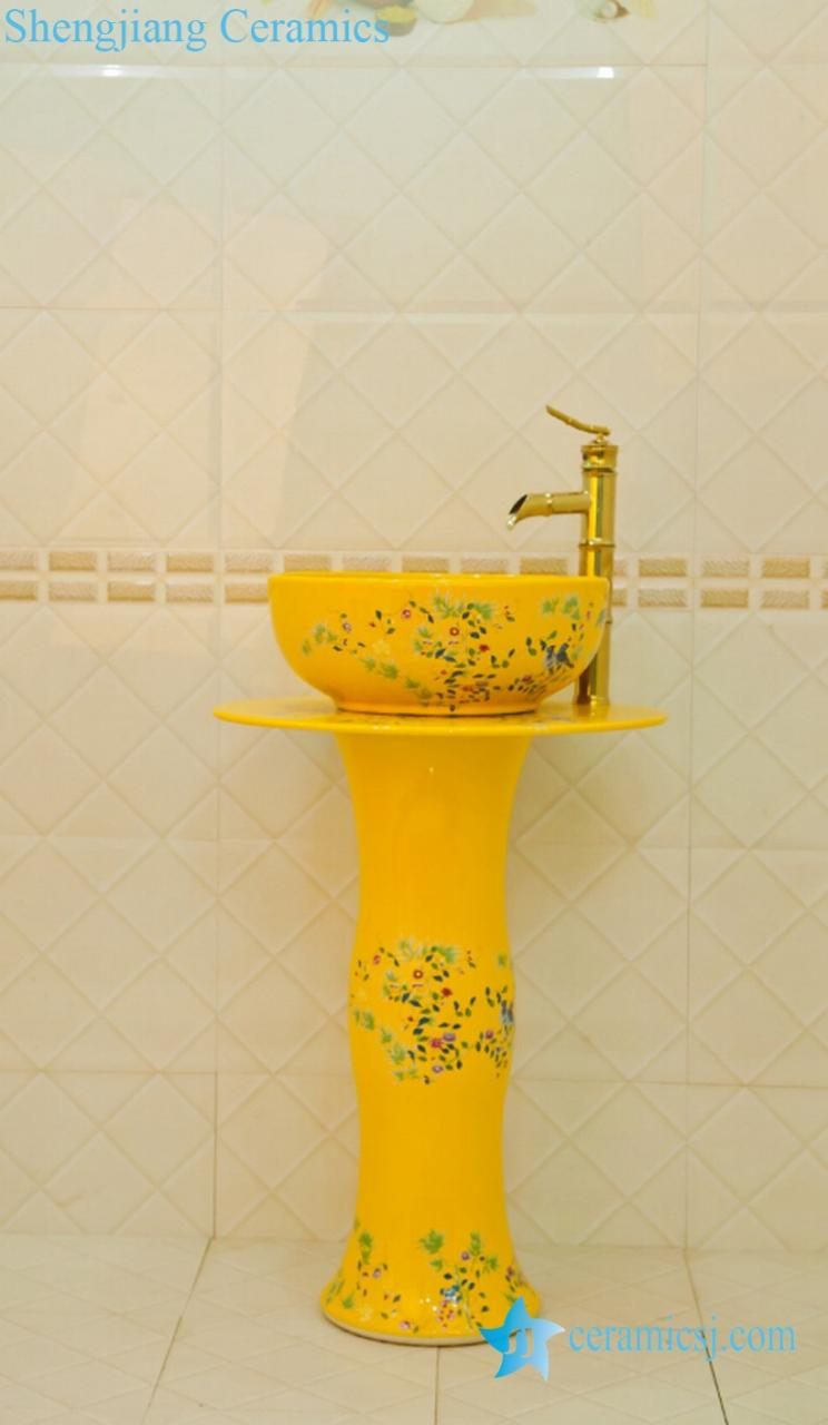 ZY-0113 ZY-0113 China produced hot sale cheap price fancy yellow ceramic vitreous enamel pedestal sink lavatory sink bowl - shengjiang  ceramic  factory   porcelain art hand basin wash sink