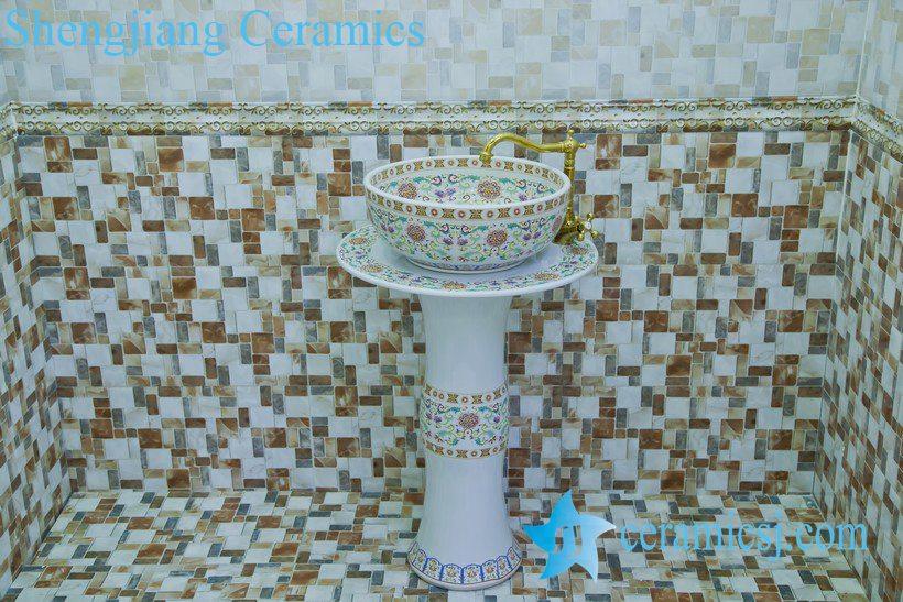 ZY-0114 ZY-0114 beauty salon furniture ceramic irregular shape pedestal white sink basin bowl - shengjiang  ceramic  factory   porcelain art hand basin wash sink