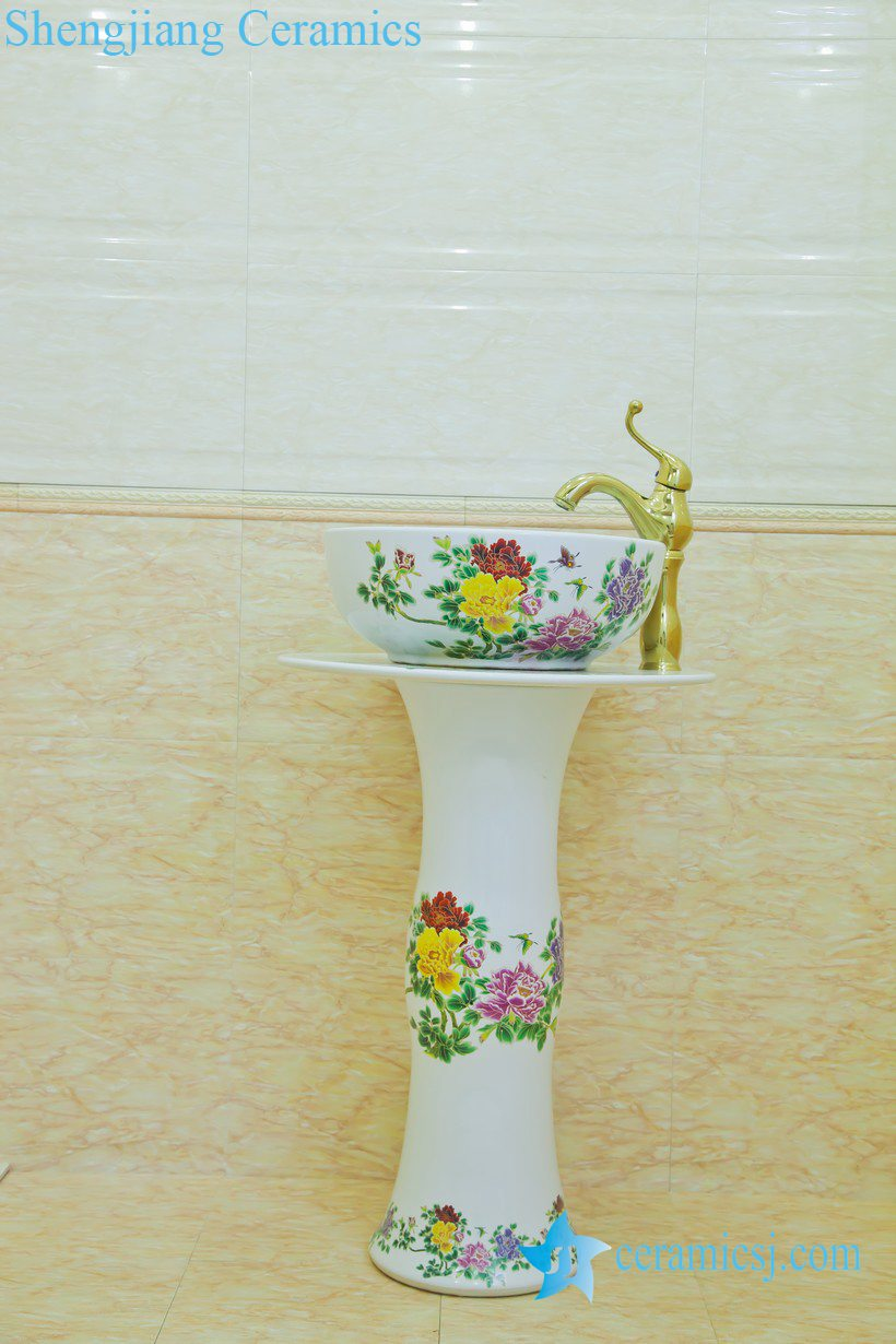 ZY-0117 ZY-0117 Middle east style luxury contemporary art ceramic pedestal sink basin - shengjiang  ceramic  factory   porcelain art hand basin wash sink