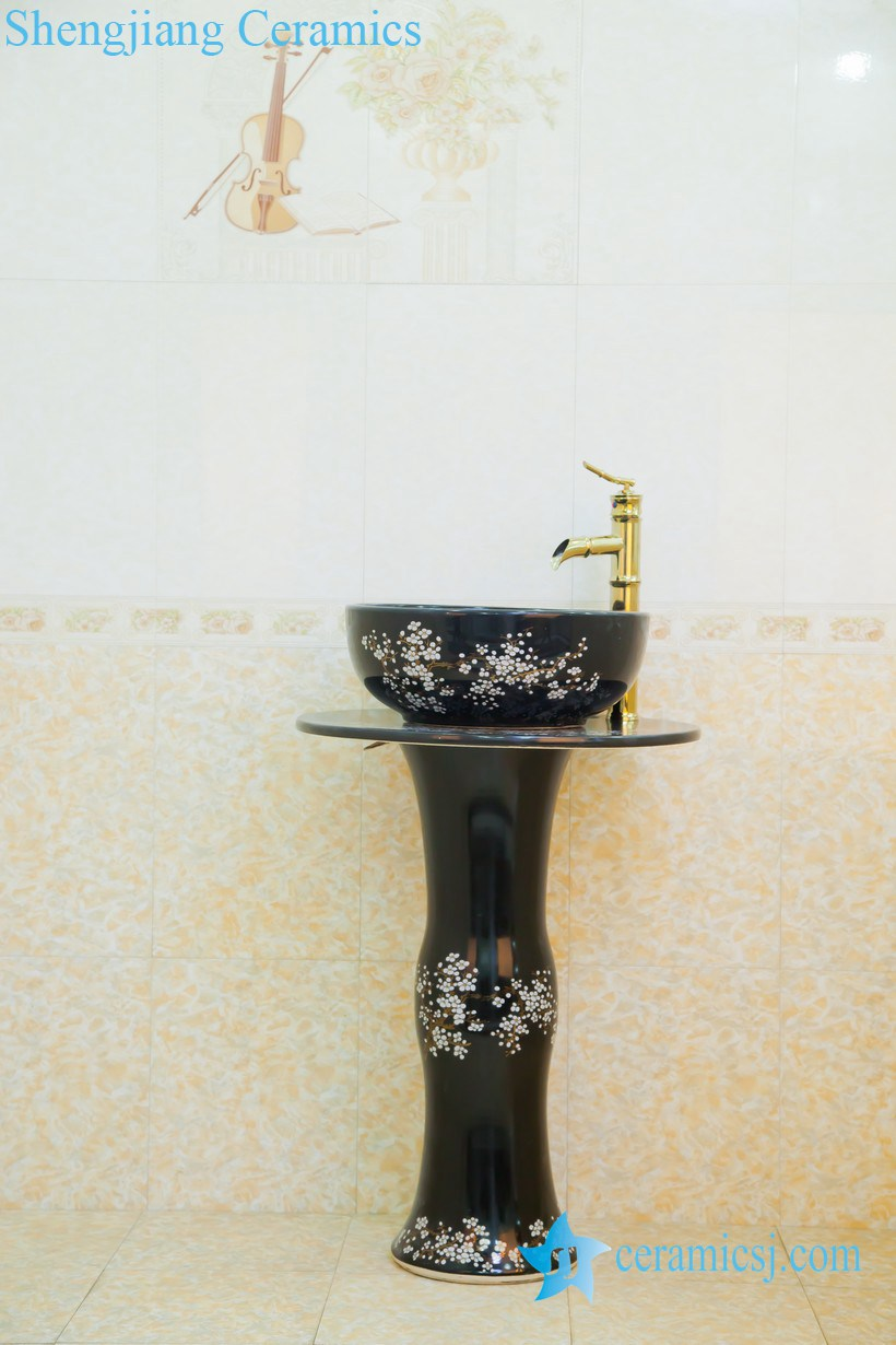 ZY-0124 ZY-0124 Middle east style plum blossom blue luxury contemporary art ceramic pedestal sink basin - shengjiang  ceramic  factory   porcelain art hand basin wash sink