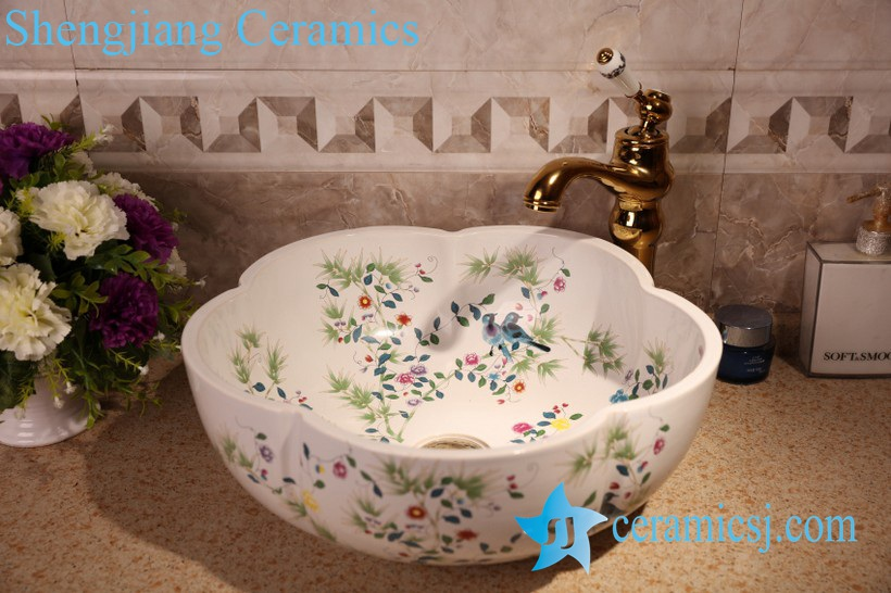 ZY-379A1288 ZY-379A1288 Floral shape bird and flower branch pattern matte finished counter top sink bowl - shengjiang  ceramic  factory   porcelain art hand basin wash sink