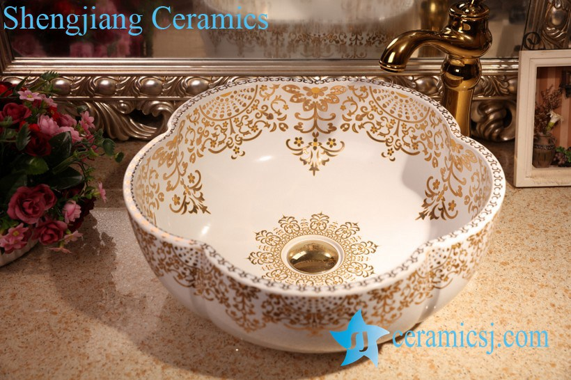 ZY-379A1373 ZY-379A1373 Matte finished floral shape colored counter mount sanitary wares - shengjiang  ceramic  factory   porcelain art hand basin wash sink