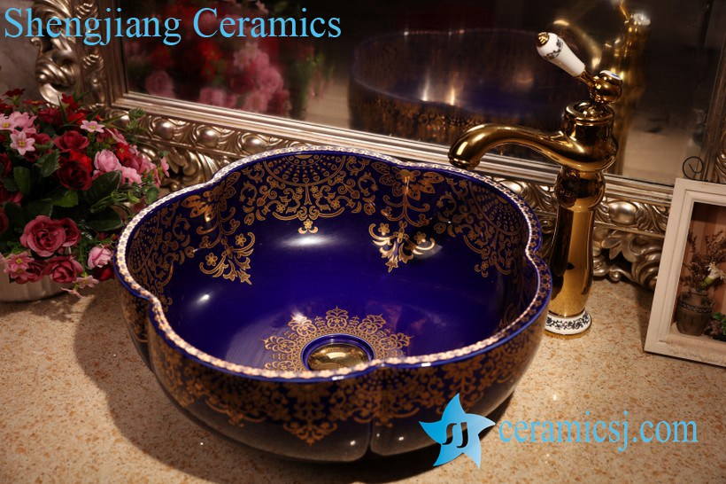ZY-379A1417 ZY-379A1373 Matte finished floral shape colored counter mount sanitary wares - shengjiang  ceramic  factory   porcelain art hand basin wash sink