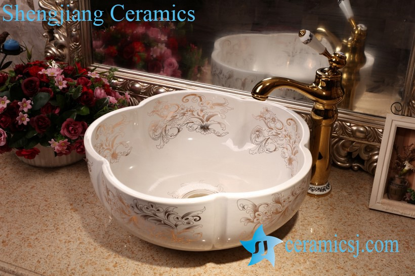 ZY-379A1696 ZY-379A1696 Floral shape porcelain bathroom basin - shengjiang  ceramic  factory   porcelain art hand basin wash sink