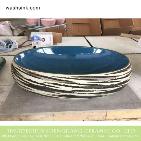 Shengjiang bulk sale good price round Chinese style hotel domestic independent hung wash basin with freehand brush work design surface and glazed blue wall TPAA-174