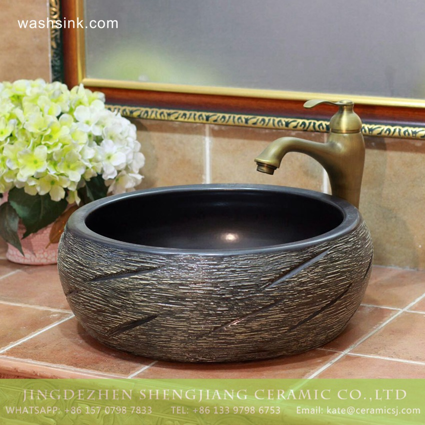 TPAA-211-w15h41j395 TPAA-211 Carved knife stroke China wholesale price porcelain wash hand basin for real estate - shengjiang  ceramic  factory   porcelain art hand basin wash sink