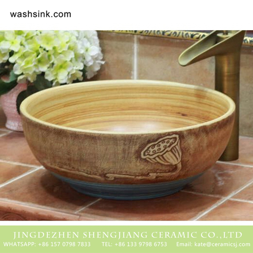 TPAA-212-w15h41j395 TPAA-212 Carved lotus pattern Chinese style Jingdezhen art ceramic small bathroom sinks - shengjiang  ceramic  factory   porcelain art hand basin wash sink