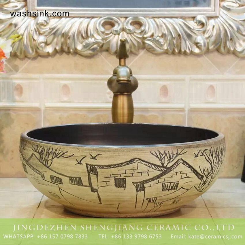TPAA-214-w15h41j395-1 TPAA-214 China supplier beautiful country home enamel wash bowl - shengjiang  ceramic  factory   porcelain art hand basin wash sink