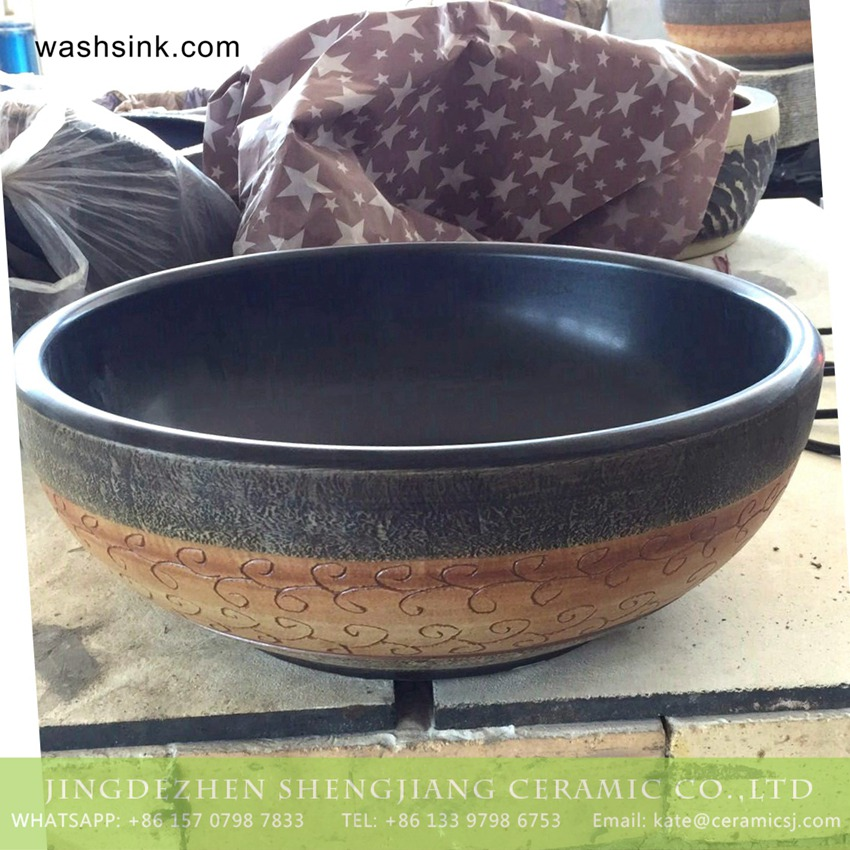 TPAA-216-w15h41j395 TPAA-216 Jingdezhen wholesale local artisan made old fashioned pottery wash bowl - shengjiang  ceramic  factory   porcelain art hand basin wash sink