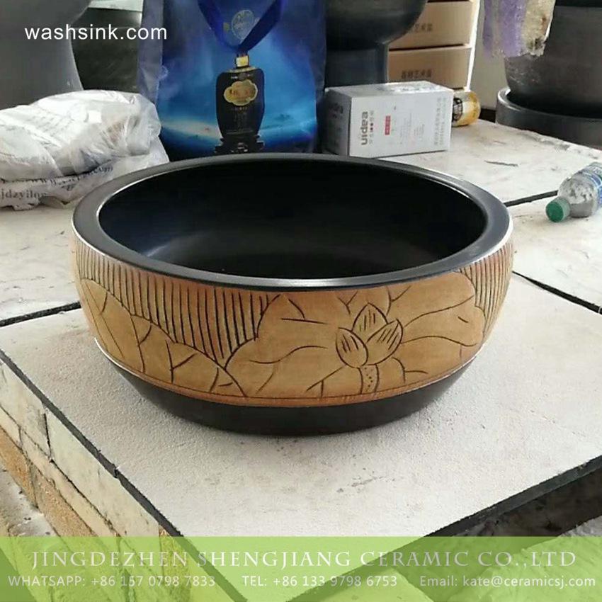 TPAA-217-w15h41j395 TPAA-217 Jingdezhen made China style hand carved lotus pattern black wall mounted porcelain washbasin - shengjiang  ceramic  factory   porcelain art hand basin wash sink