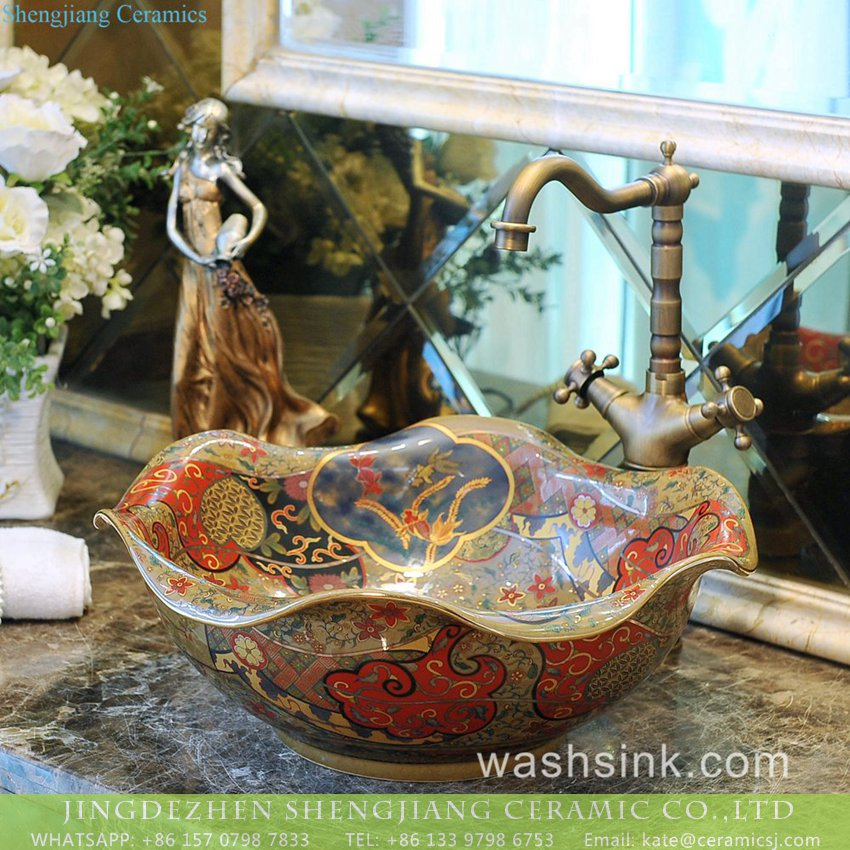 TXT031-5 Special design Jiangxi Jingdezhen supply Scottish classical retro style lotus leaf shape luxury porcelain wash basin with golden floral rim and embossed auspicious clouds surface TXT031-5 - shengjiang  ceramic  factory   porcelain art hand basin wash sink