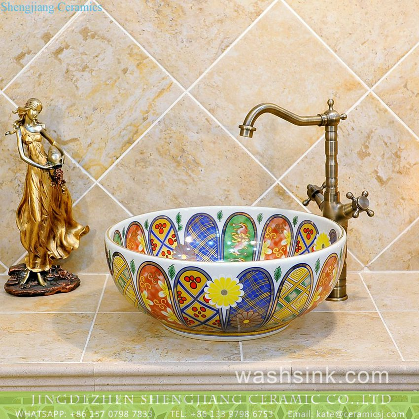 TXT05A-5 TXT05A-5 Japan style Shengjiang factory porcelain vintage wash bowl - shengjiang  ceramic  factory   porcelain art hand basin wash sink