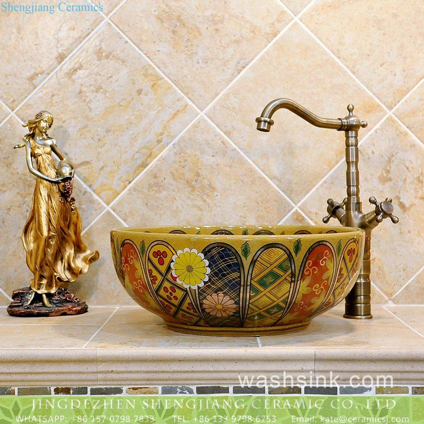 TXT05B-3 TXT05B-3 Nippon royal style antique ceramic wash basin set - shengjiang  ceramic  factory   porcelain art hand basin wash sink