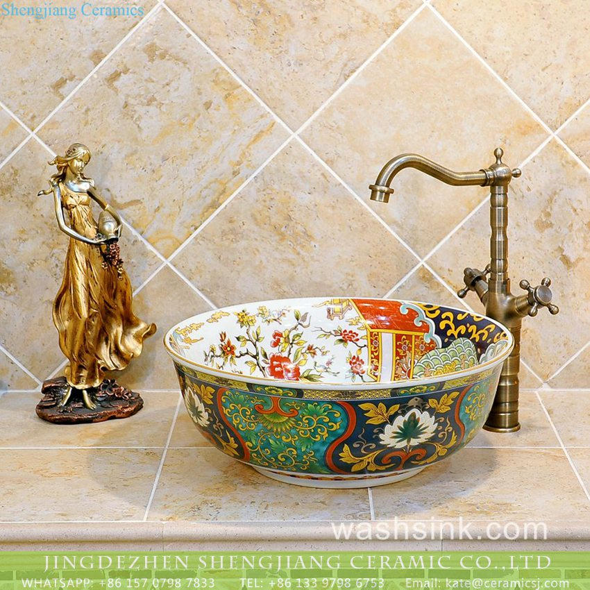 TXT14A-3 TXT14A-3 Asia style royal pattern ceramic bathroom art basin - shengjiang  ceramic  factory   porcelain art hand basin wash sink