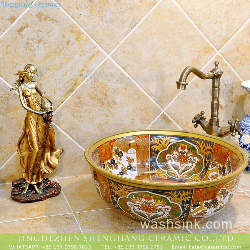 TXT16B-2 TXT16B-2 India style gold color Shengjiang ceramic factory direct sale toilet vitreous china sink - shengjiang  ceramic  factory   porcelain art hand basin wash sink