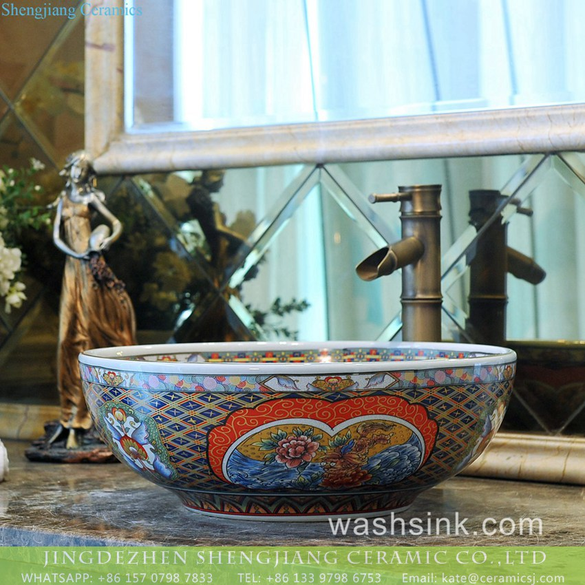 TXT172-3 Shengjiang Ceramics factory direct Victorian antique quaint royal court style high strength round porcelain enamel countertop vanity basin with floral and colorful block pattern on white glaze TXT172-3 - shengjiang  ceramic  factory   porcelain art hand basin wash sink