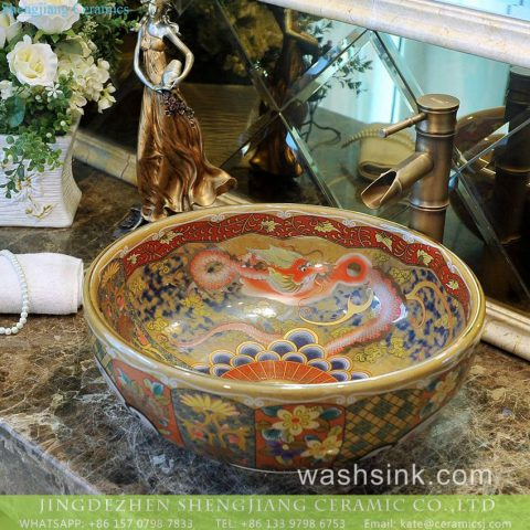 Dragon Series Jingdezhen hand made Chinoiserie quaint ornate porcelain over mount wash hand sink with gold drawing Forbidden city dragon pattern on golden wall and various floral pattern on surface TXT177-4