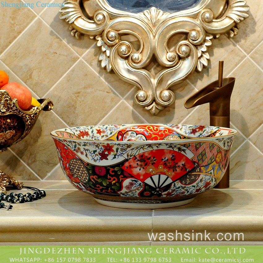 TXT17A-4 TXT17A-4 Factory price Jingdezhen hand made floral fan pattern enamel wash basin wholesale - shengjiang  ceramic  factory   porcelain art hand basin wash sink