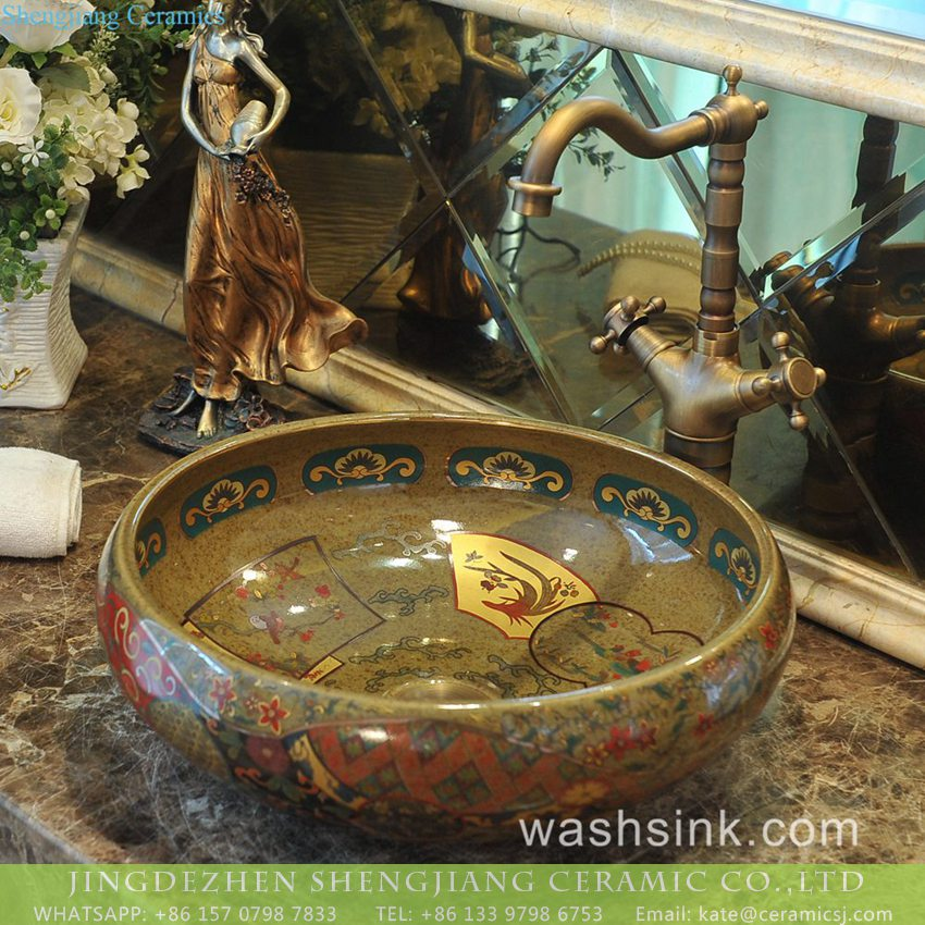 TXT180-3 China supply Indian antique retro style hot sale gorgeous porcelain bowl vessel basin with golden secret garden pattern on grayish-green wall and surface TXT180-3 - shengjiang  ceramic  factory   porcelain art hand basin wash sink