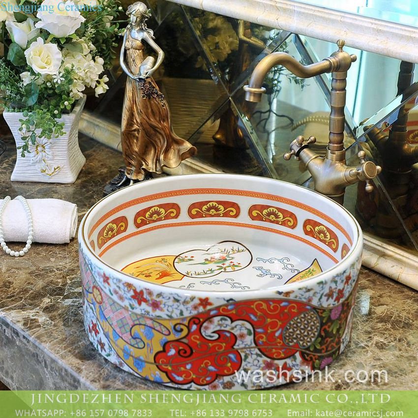 TXT182-2 Jingdezhen made special design Indonesia style retro straight barrel shape famille rose ceramic mini under mount wash sink basin with gorgeous gold drawing cloud and sea wave pattern TXT180-2 - shengjiang  ceramic  factory   porcelain art hand basin wash sink